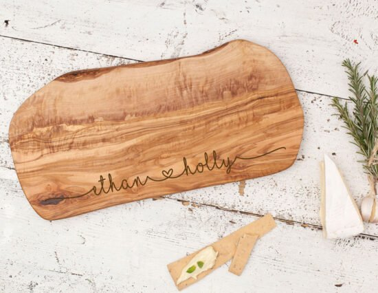 Personalised Joining Hearts Olivewood Cheeseboard