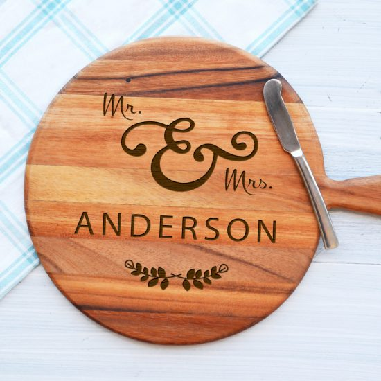 Personalised Mr and Mrs Wreath Cheeseboard