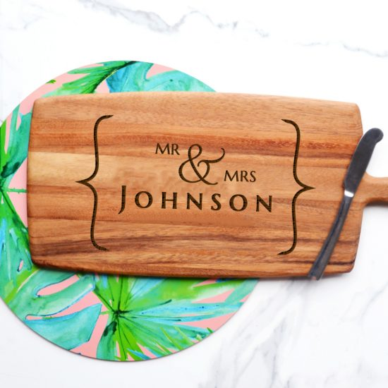 Personalised Mr and Mrs Bracket Cheeseboard