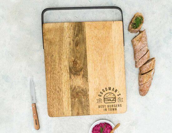 Personalised Best Burger Mango Wood Chopping Board