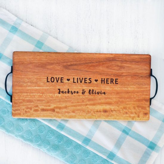 Personalised Love Lives Here Serving Board