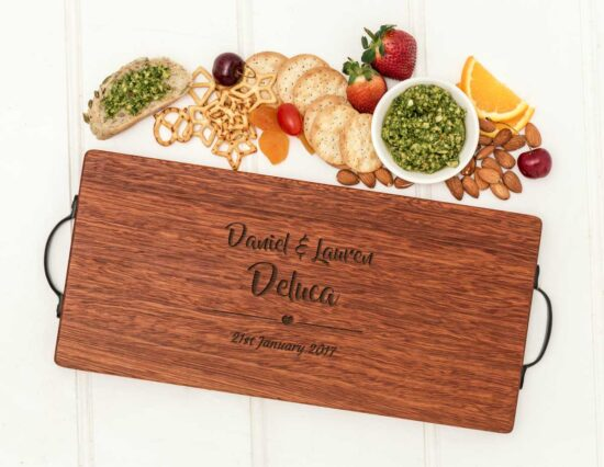 Personalised His and Hers Heart Serving Board