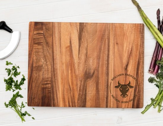 Personalised Natural Born Griller Chopping Board