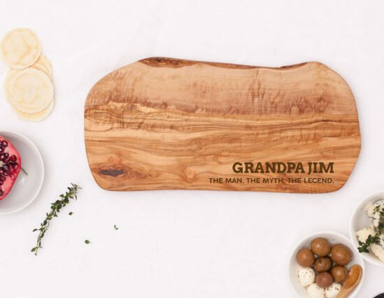 Personalised Man Myth Legend Olivewood Cheeseboard