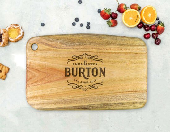 Personalised Scroll Camphor Laurel Chopping Board