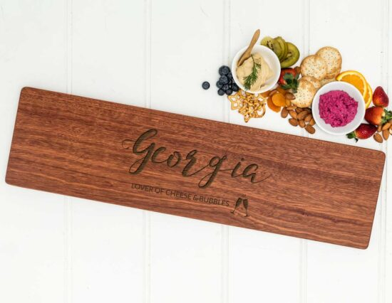 Personalised Cheese and Bubbles Long Tapas Serving Board
