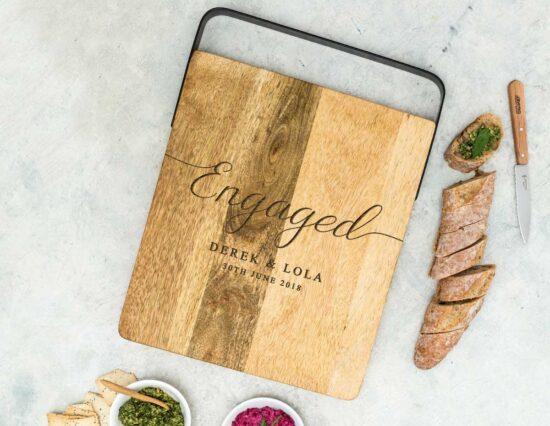 Personalised Engaged Mango Wood Chopping Board
