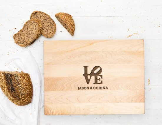 Personalised LOVE Canadian Maple Chopping Board