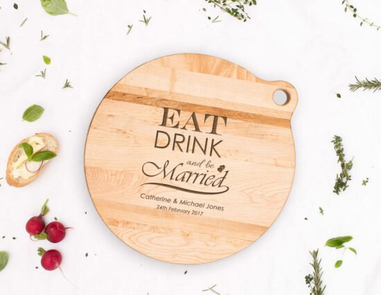Personalised Eat Drink and be Married Canadian Maple Cheeseboard