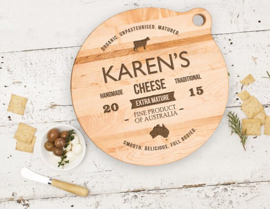 Personalised Traditional Label Canadian Maple Cheeseboard