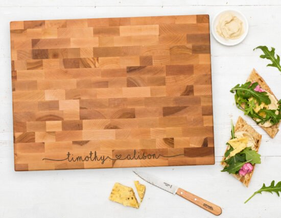 Personalised Joining Hearts Canadian Maple Chopping Board