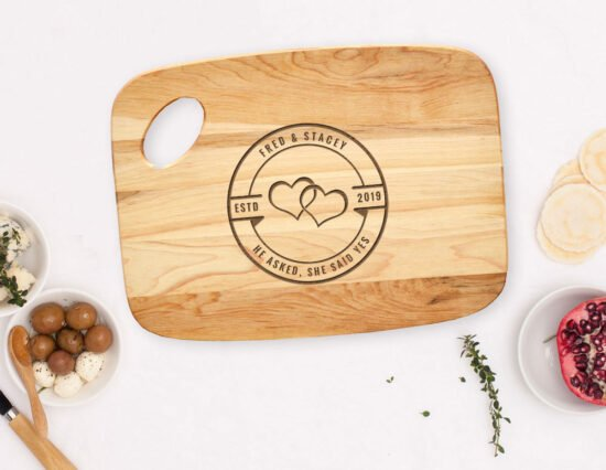 Personalised He Asked She Said Yes Charcuterie Board