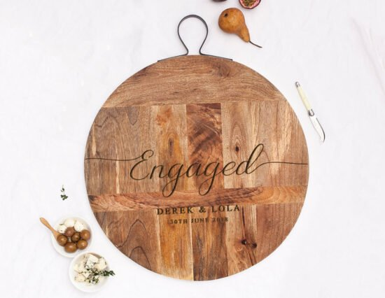Personalised Engaged Rustic Mango Wood Cheeseboard