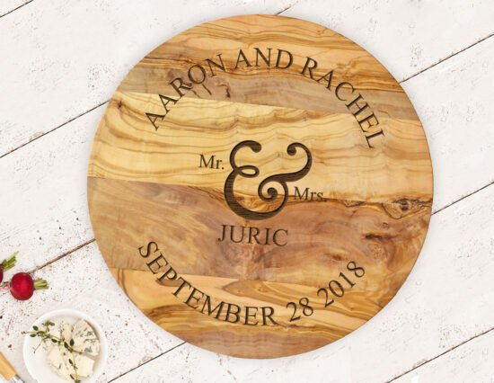 Personalised Mr and Mrs Olivewood Round Cheeseboard
