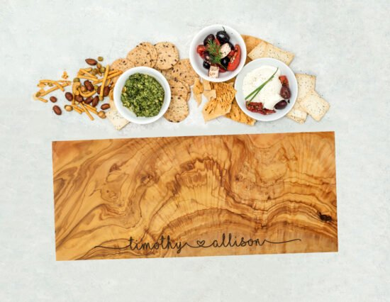 Personalised Joining Hearts Olivewood Rectangle Cheeseboard