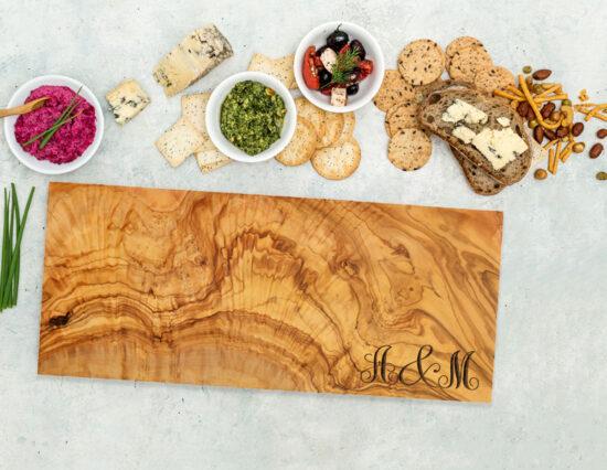 Personalised Monogram Olivewood Rectangle Cheeseboard