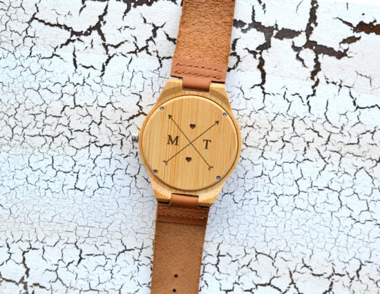 Personalised Arrows Mens Wooden Watch
