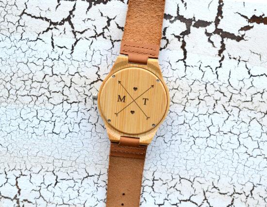 Personalised Arrows Mens Wooden Watch