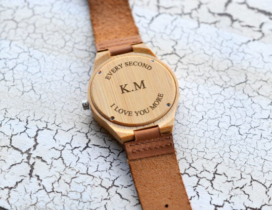 Personalised Moustache Mens Wooden Watch
