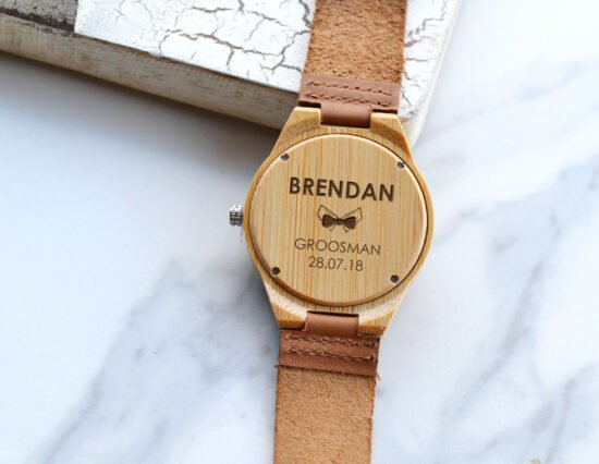 Personalised Wedding Party Mens Wooden Watch