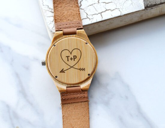 Personalised Arrow Heart Mens Wooden Watch