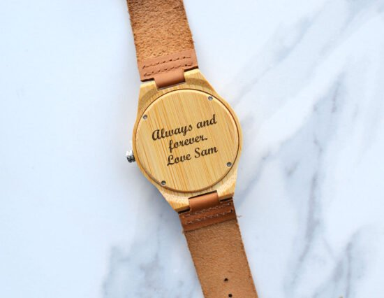 Personalised Message Mens Wooden Watch