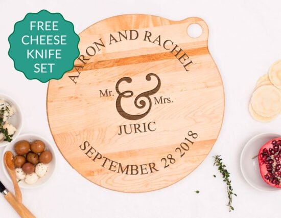 Personalised Mr and Mrs Canadian Maple Cheeseboard