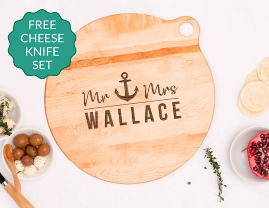 Personalised Anchor Canadian Maple Cheeseboard