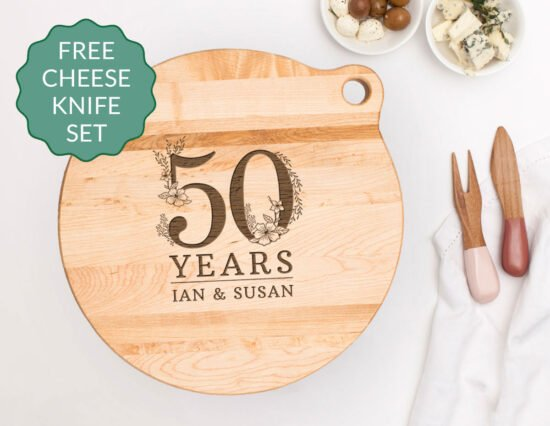 Personalised Floral Number Canadian Maple Cheeseboard