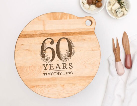 Personalised 60th Birthday Canadian Maple Cheeseboard
