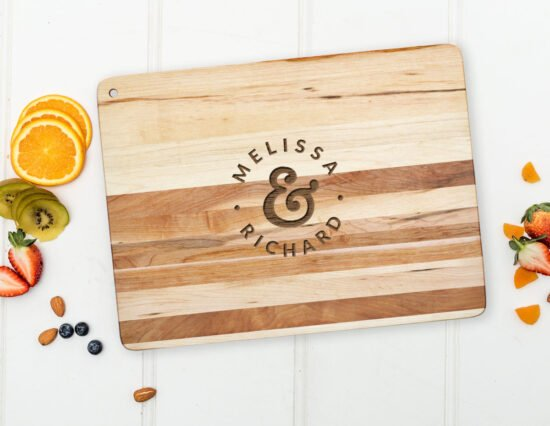 Personalised Mr and Mrs Dots Floating Chopping Board