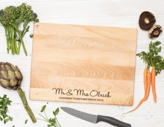 Personalised Cooking Together Floating Canadian Maple Chopping Board