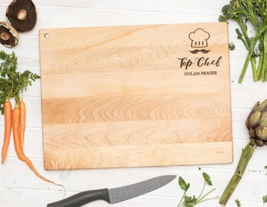 Personalised Top Chef Floating Canadian Maple Chopping Board