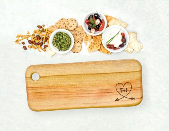 Personalised Arrow Heart Rectangle Cheeseboard