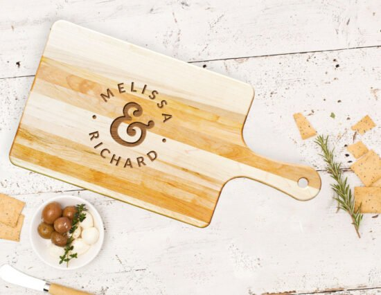 Personalised Mr and Mrs Dots Rectangle Maple Cheeseboard