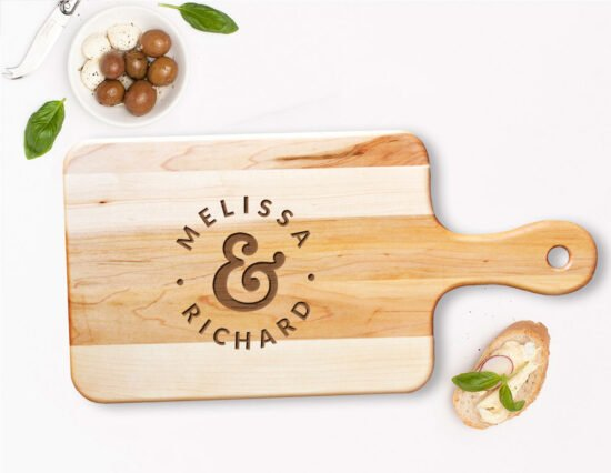 Personalised Mr and Mrs Dots Rectangle Canadian Maple Cheeseboard