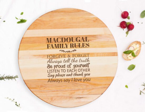 Personalised Family Rules Canadian Maple Lazy Susan