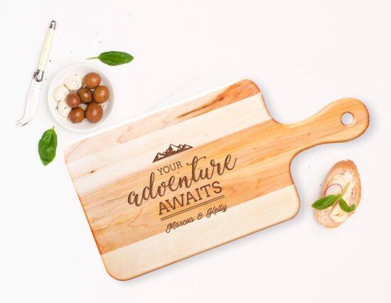 Personalised Adventure Awaits Rectangle Maple Cheeseboard