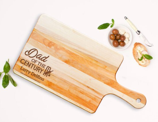Personalised Dad of the Century Rectangle Maple Cheeseboard