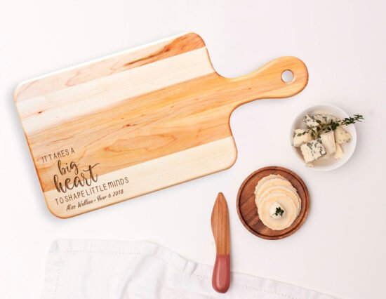 Personalised Little Minds Rectangle Maple Cheeseboard