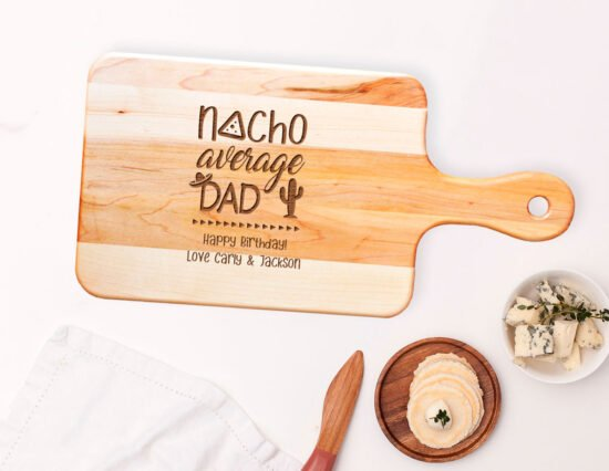 Personalised Nacho Average Dad Rectangle Maple Cheeseboard