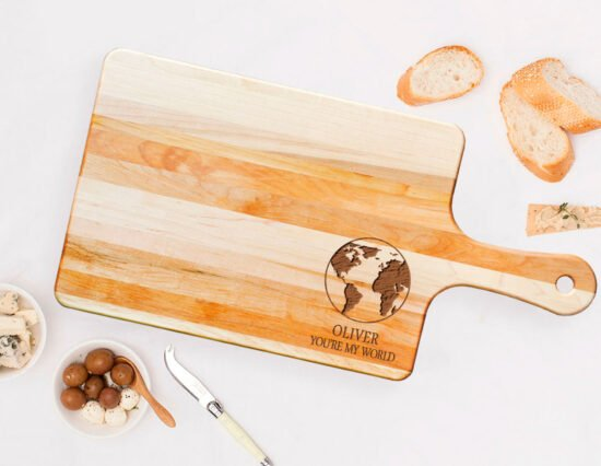 Personalised You're My World Rectangle Maple Cheeseboard