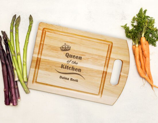 Personalised Queen of the Kitchen Cutting Board