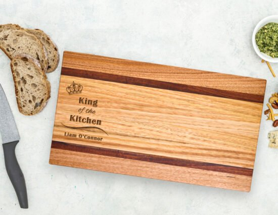 Personalised King of the Kitchen Ash & Red Gum Chopping Board