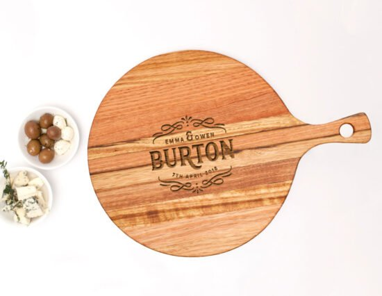 Personalised Scroll Round Ash Cheeseboard