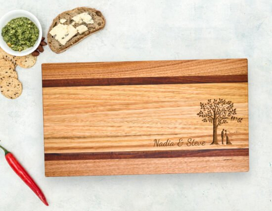 Personalised Bride and Groom Ash & Red Gum Chopping Board
