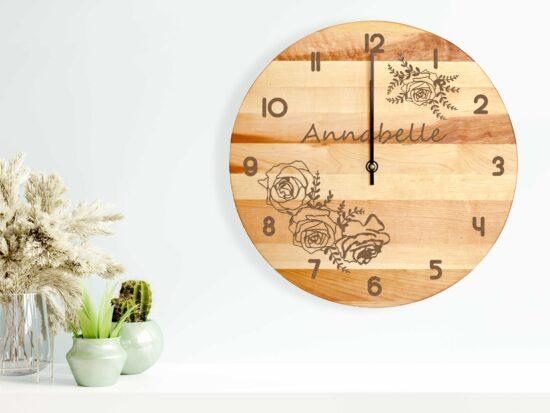 Personalised Floral Name Clock