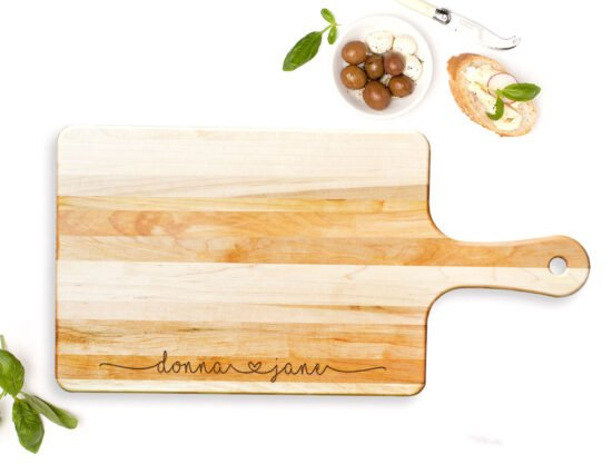 Personalised Joining Hearts Rectangle Maple Cheeseboard